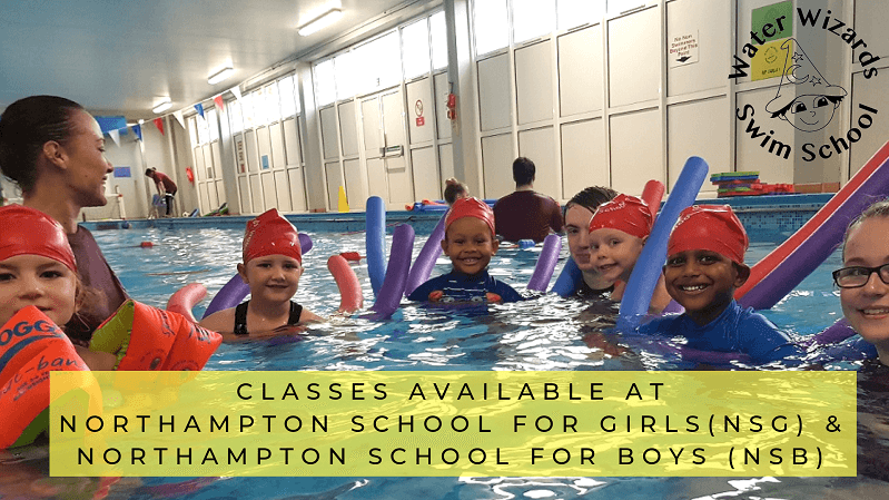 Children smiling and laughing enjoying swimming lessons at Northampton School for Girls (NSG)