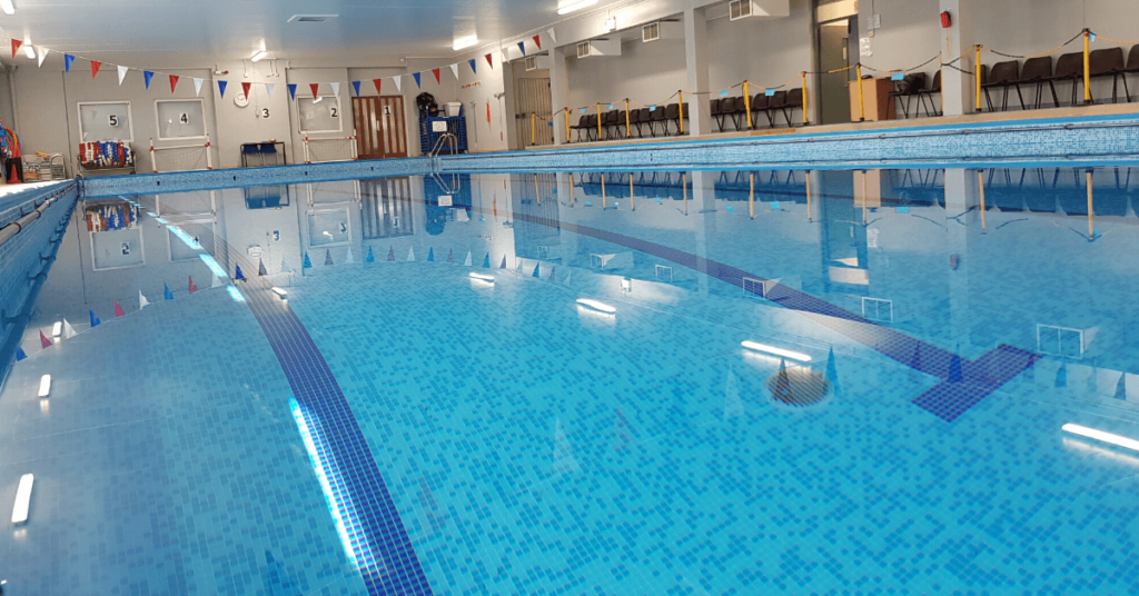 Children's swimming lessons at the swimming pool at Northampton School for Girls